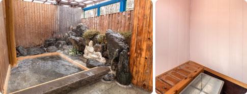 檜風呂(左)・ミストサウナ(右)